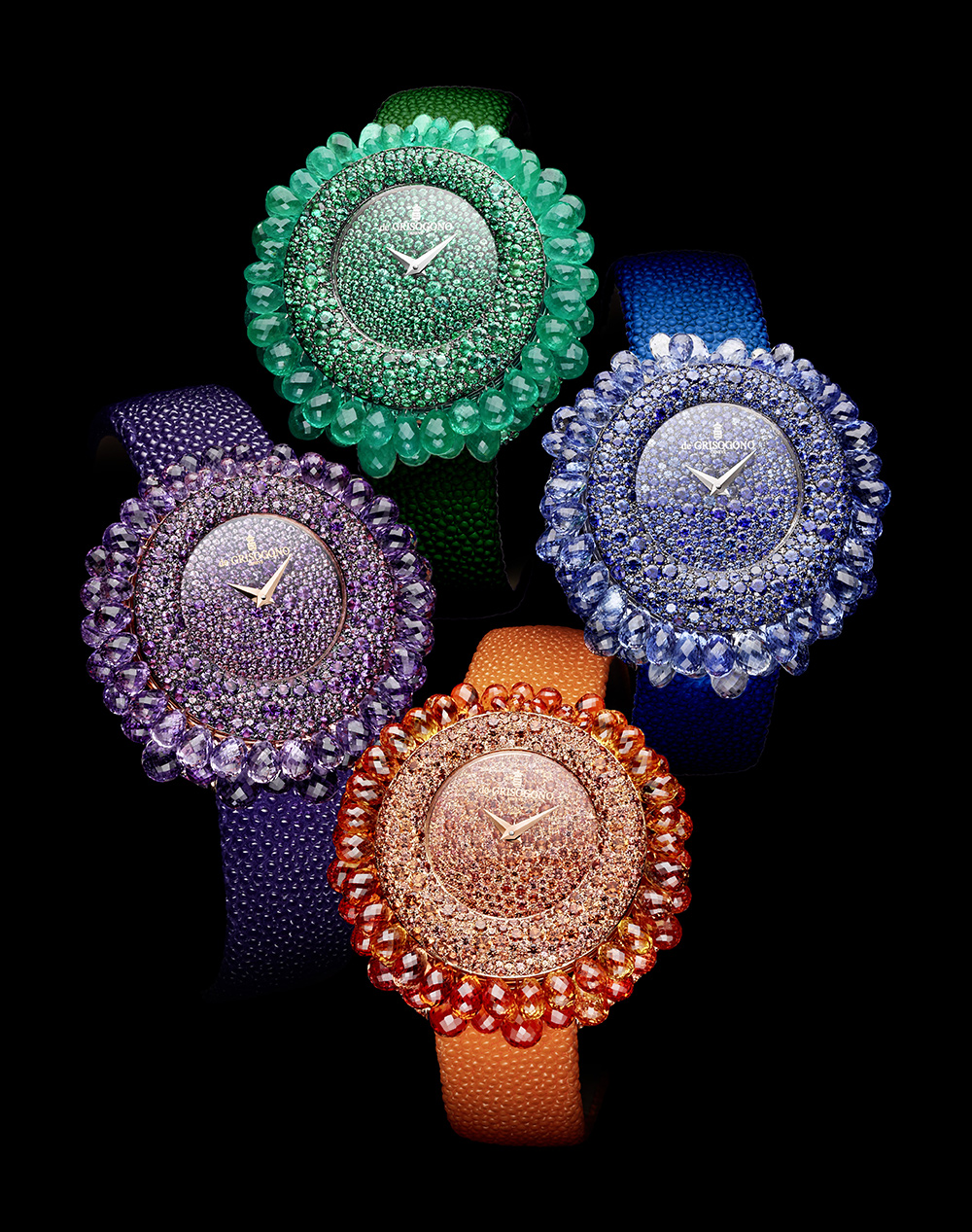 de Grisogono Grappoli watch with orange sapphires, amethysts, emeralds, blue sapphires