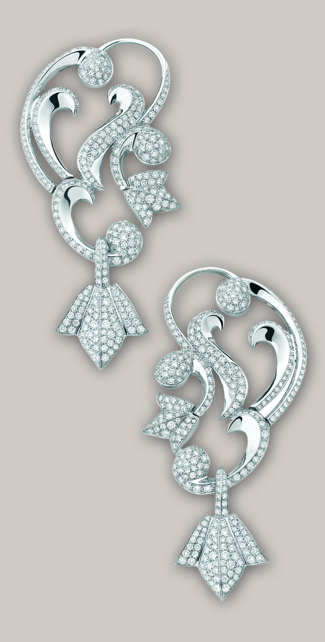 Mellerio dits Meller Secrets de Lys ear cuffs crafted in platinum and set with diamonds