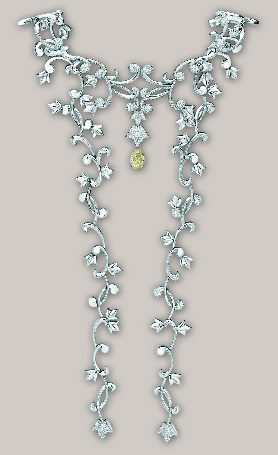 Mellerio dits Meller Secrets de Lys necklace with a 15cts yellow diamond