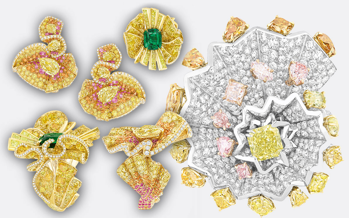 Archi Dior Yellow Gold, Yellow and Pink Diamonds and Emerald jewellery