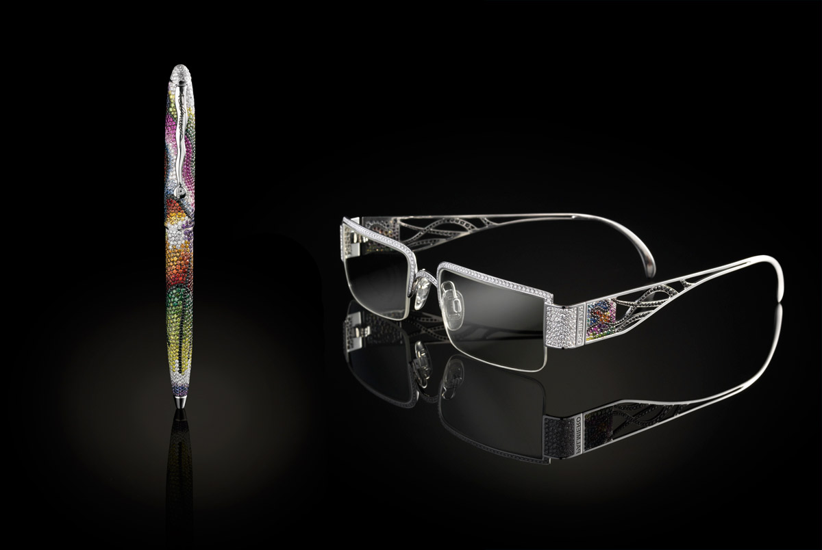 Palmiero pen and glasses encrusted with diamonds and multicoloured sapphires