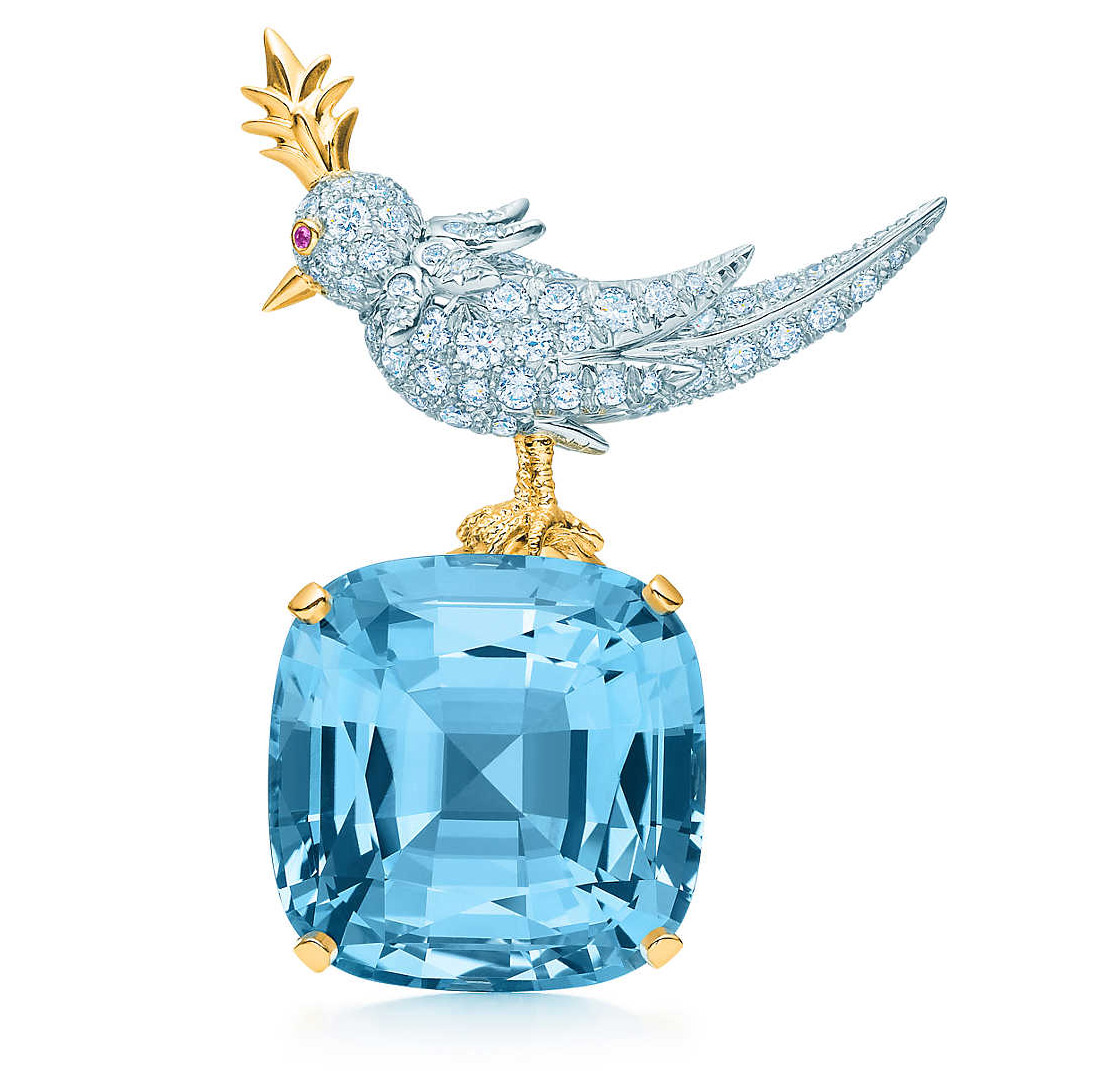 Tiffany&Co Bird On The Rock brooch in platinum and yellow gold with cushion-cut 41.66 cts aquamarine and diamonds