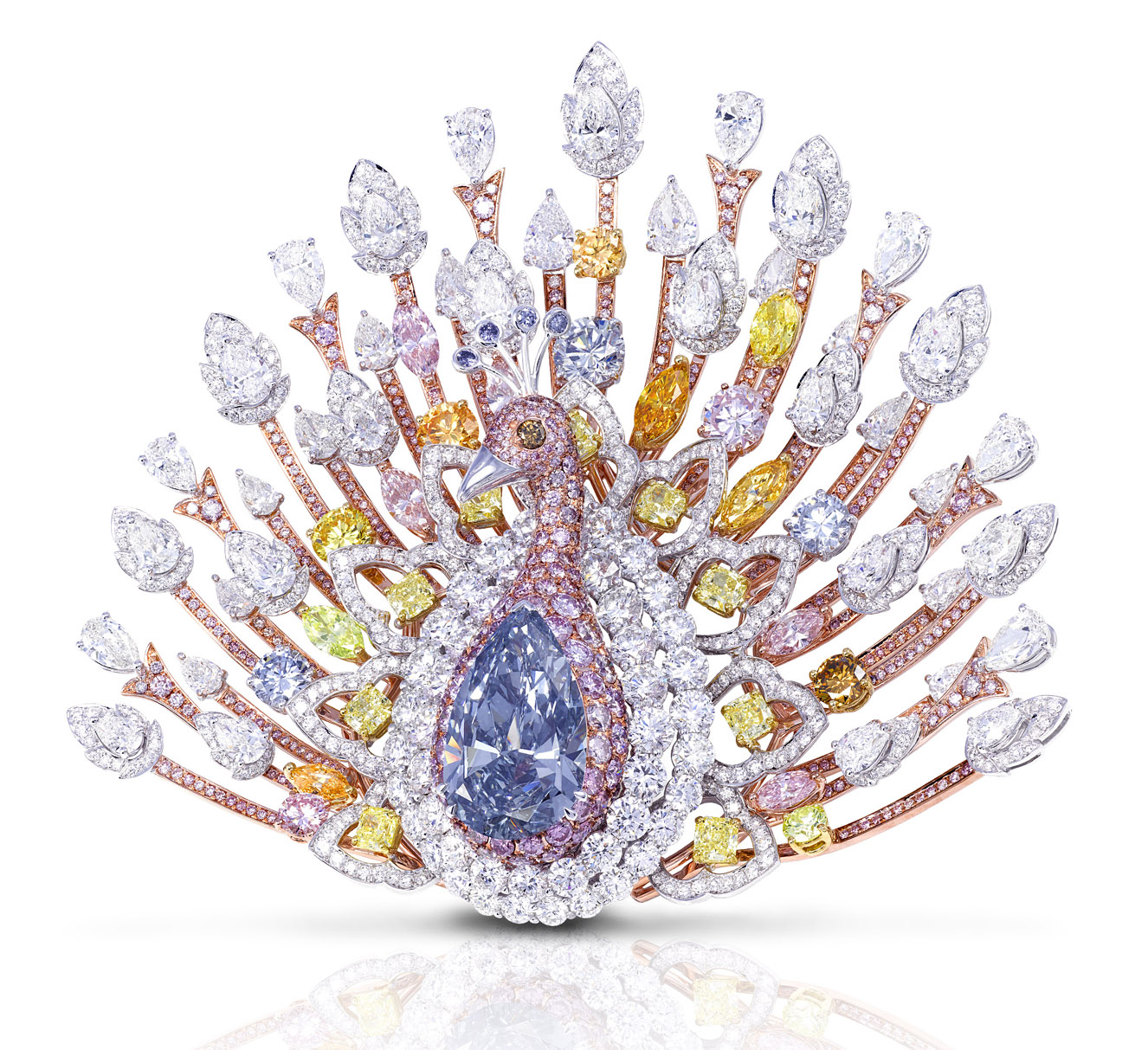 Peacock brooch by Graff Diamonds with white, yellow, pink and a 20.02 cts blue diamond