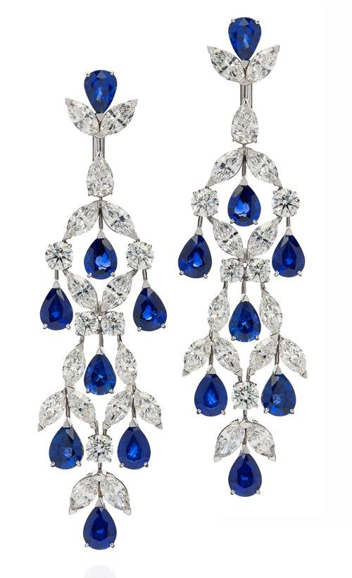 Orlov drop earrings with sapphires and diamonds