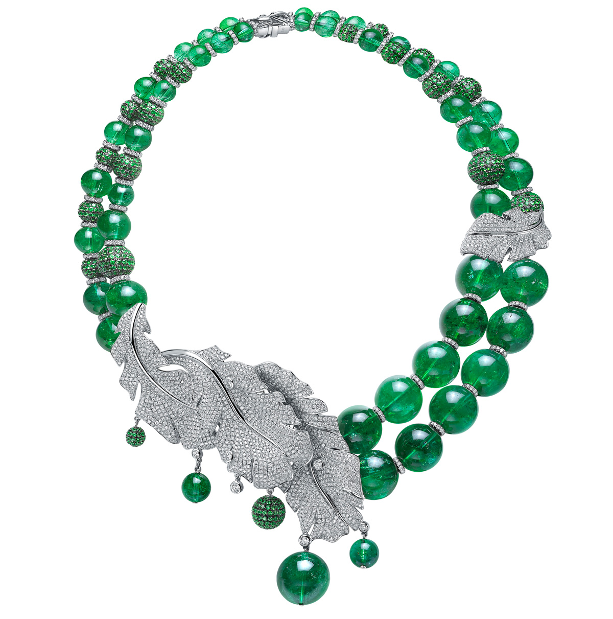 "Fei Liu ""Feather"" necklace with diamonds and impressive beads of green tourmaline"