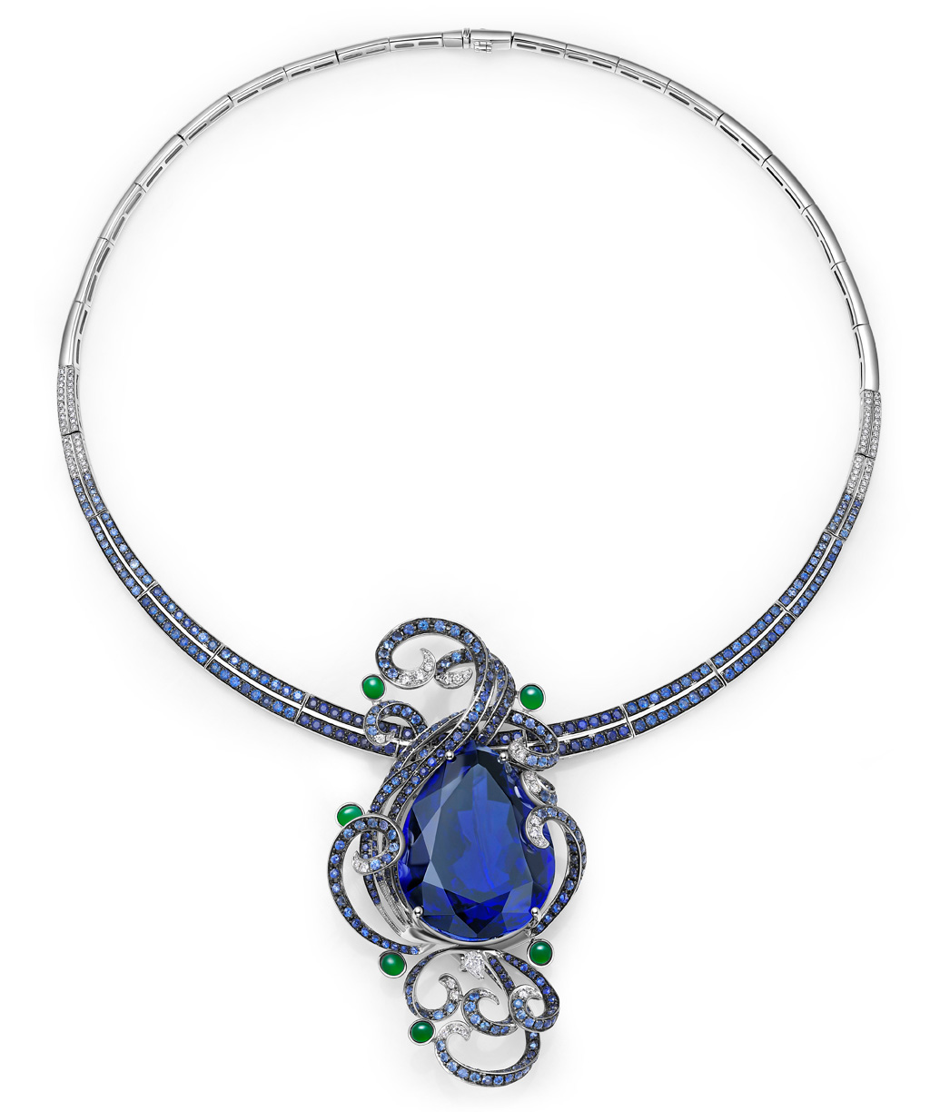 Fei Liu necklace with a 103 carats pear-cut tanzanite, blue sapphires, diamonds and jade