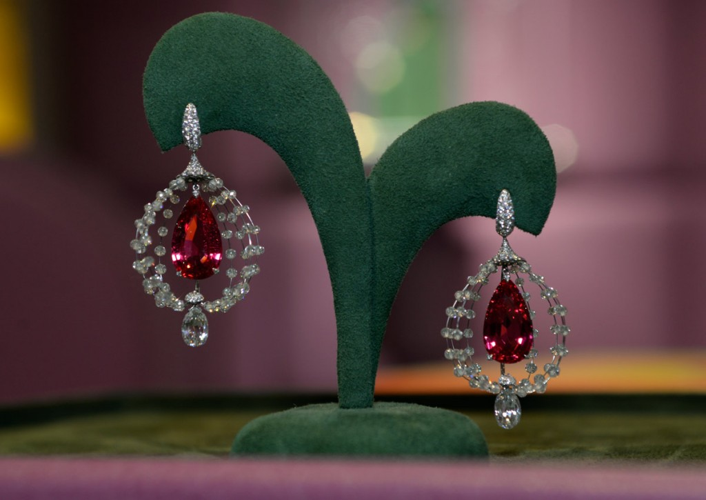 Suzanne Syz spinel and diamond earrings