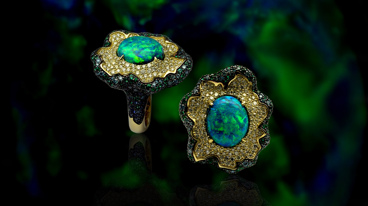 Stanislav Drokin ring with an Australian opal, diamonds, emeralds and sapphires