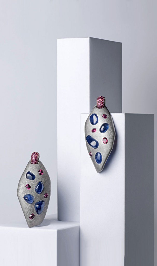 Suzanne Syz earrings with sapphires and spinels