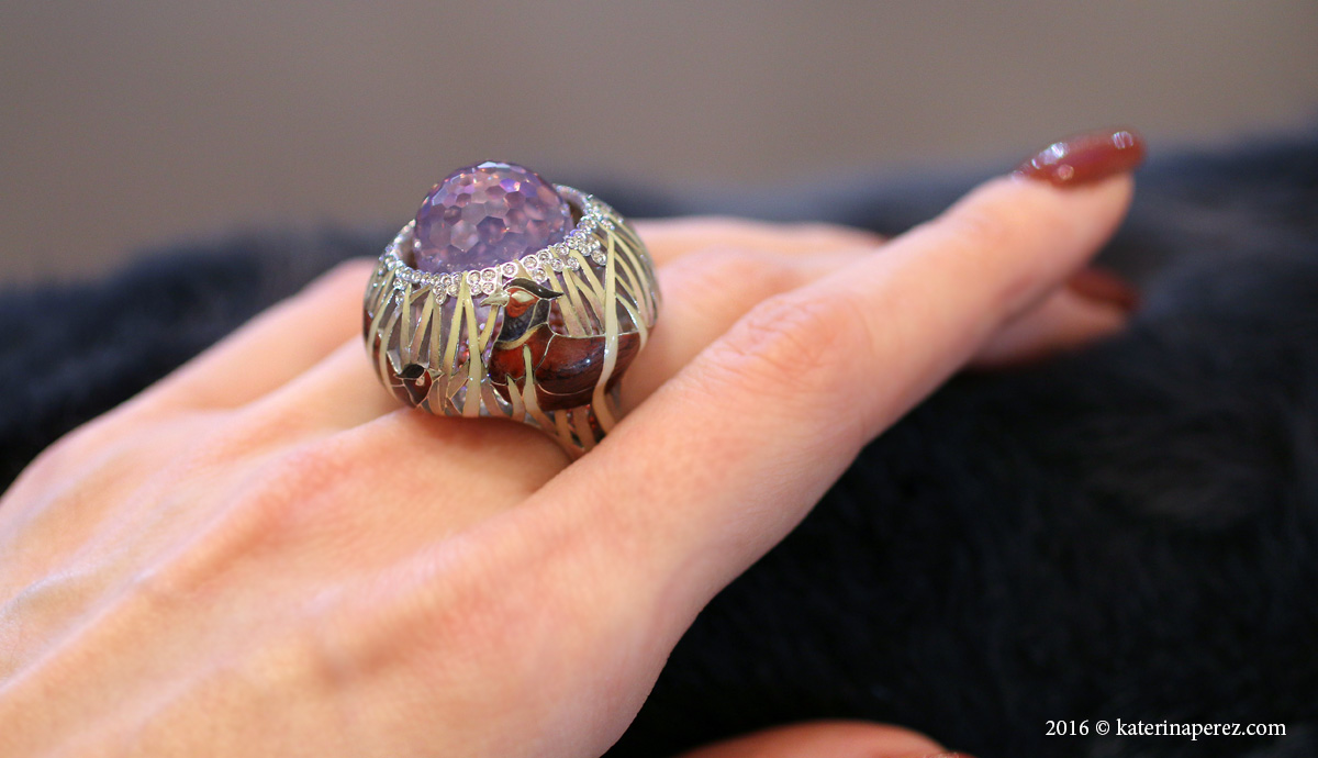 Ilgiz Fazulzyanov Pheasant ring with rose quartz, diamonds and enamel