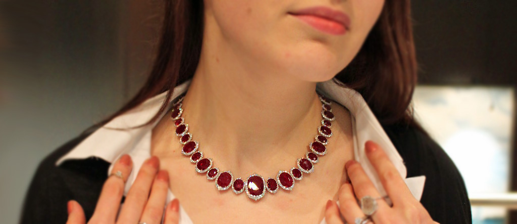 Bayco ruby and diamond necklace