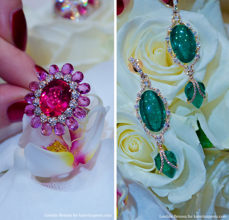 Inbar pink sapphire ring and emerald  earrings at Couture