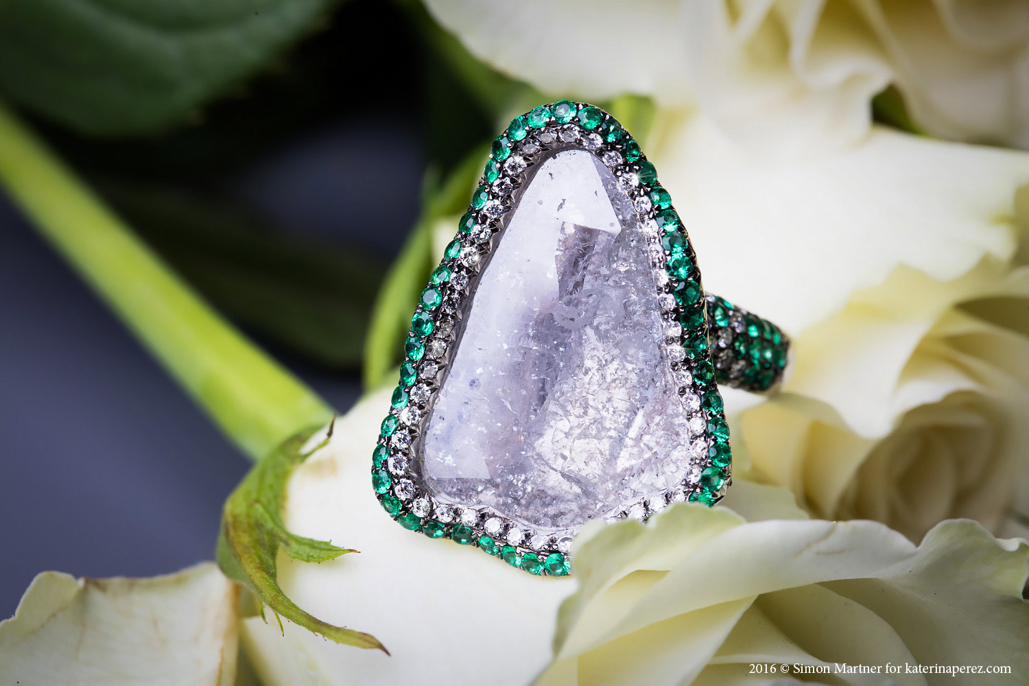 Ashu Malpani rough diamond, emeralds, diamonds in 18K white gold ring - £7,680