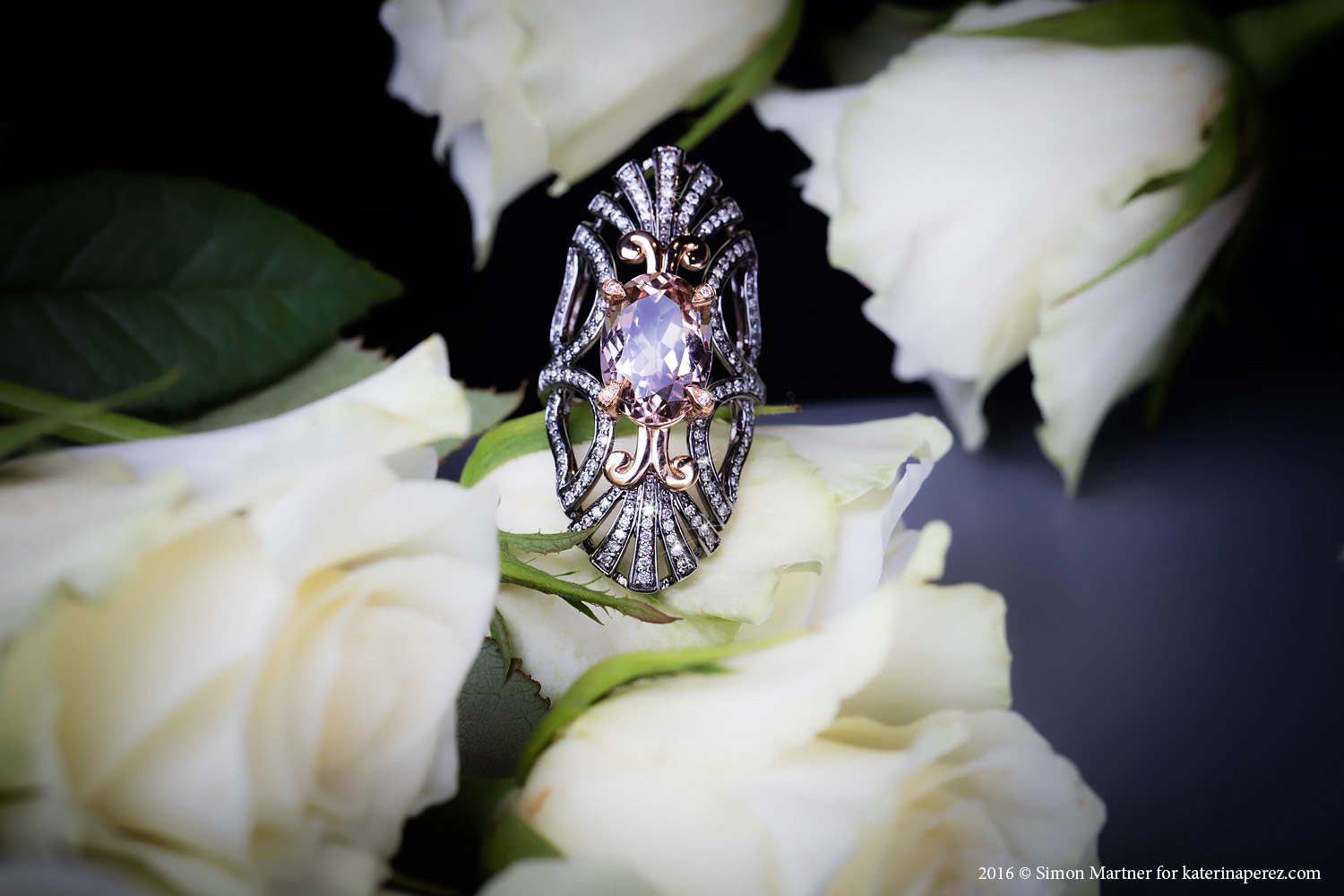 Bochic morganite, diamonds and 18K white gold ring - £6,000