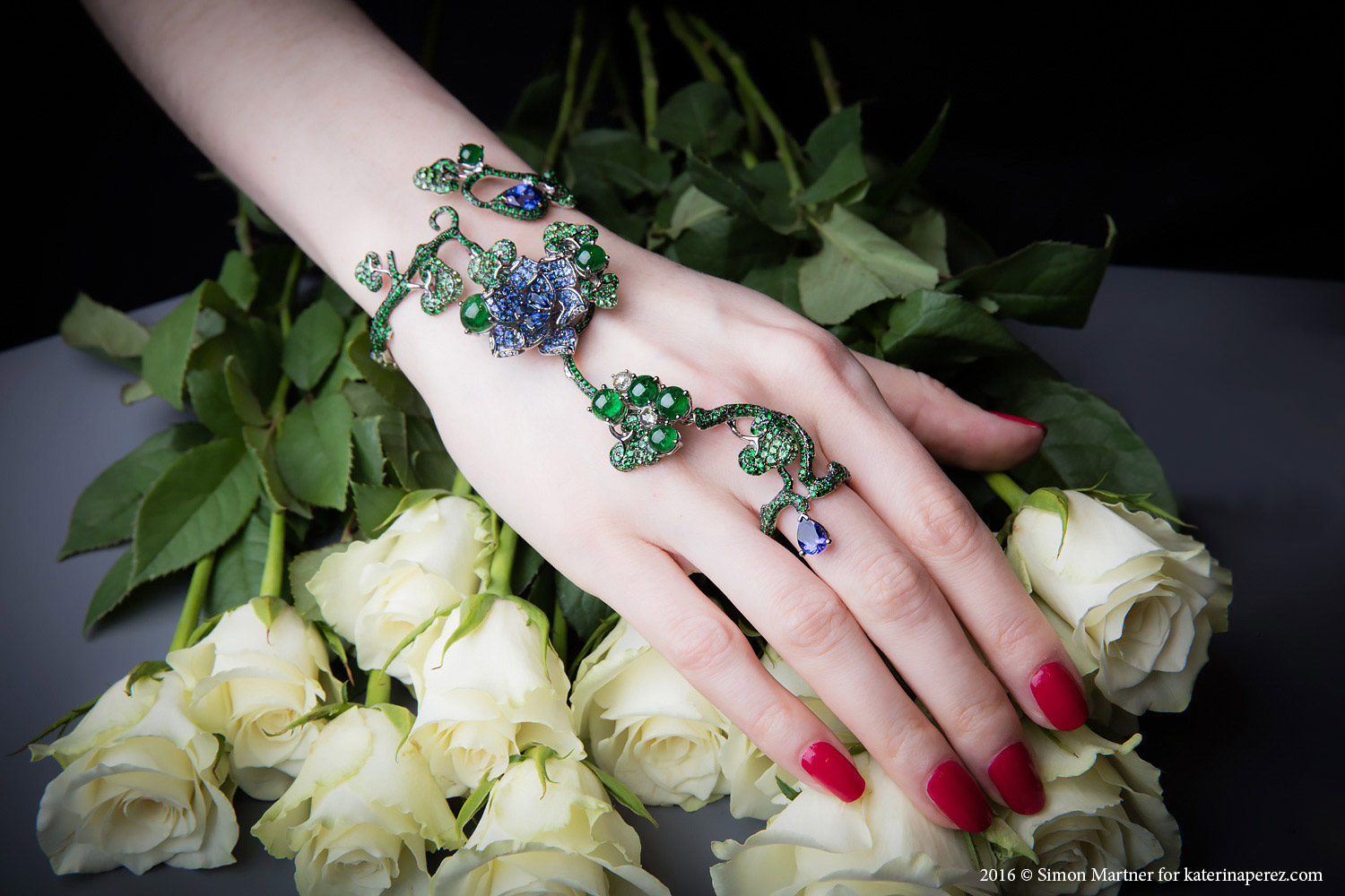 Wendy Yue tsavorite, tanzanite, blue sapphire, diamonds and 18K black gold hand bracelet - £21,120