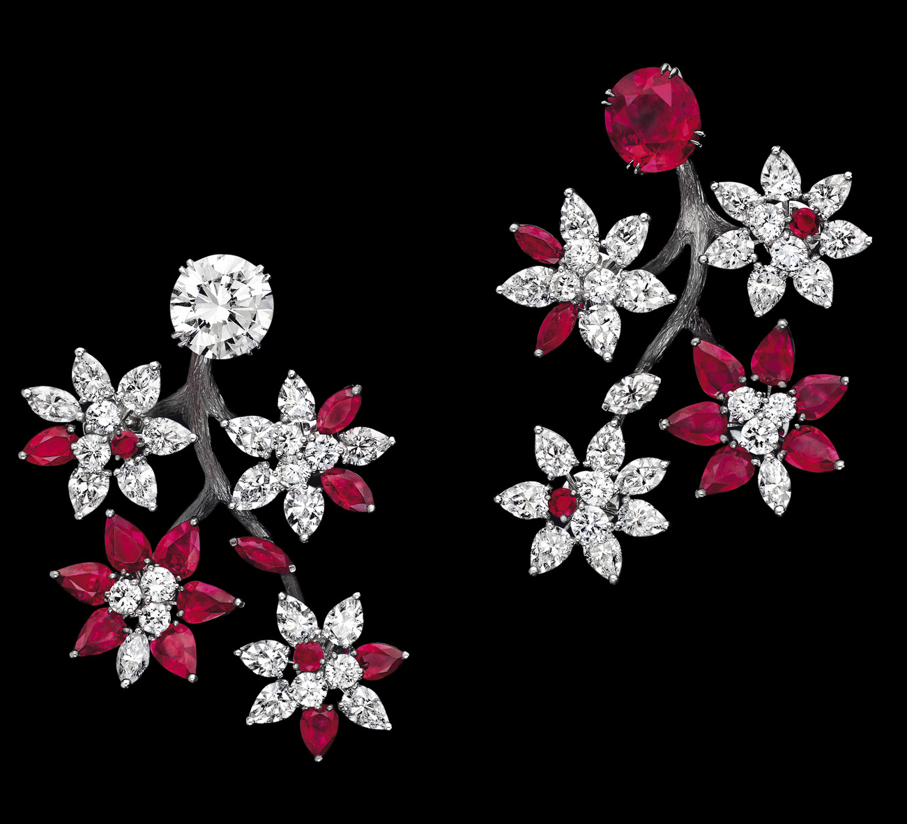 Alexandre Reza Trembleur earrings with rubies and daimonds