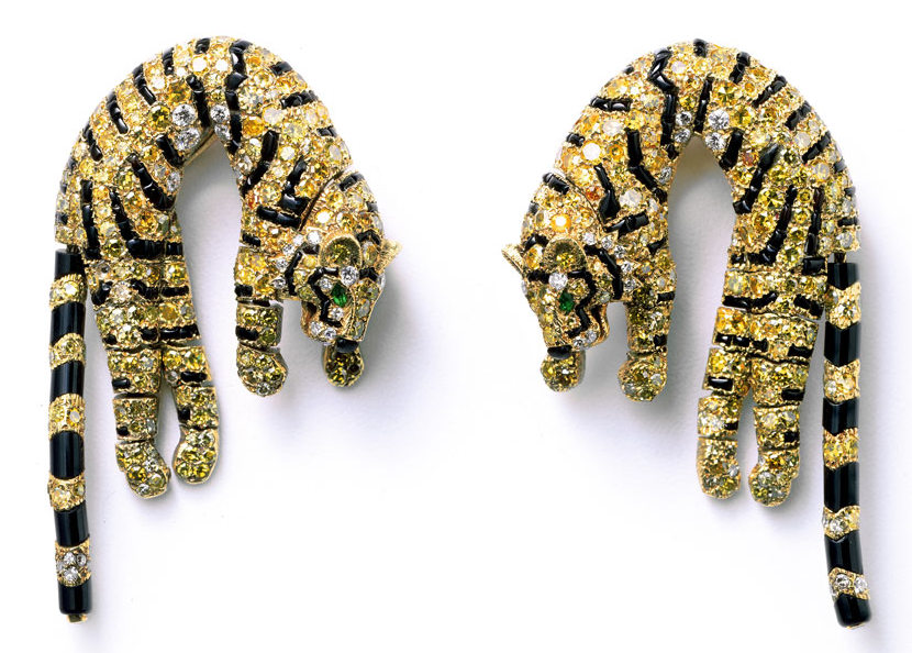 Barbara Hutton's pair of Tiger ear clips 1961 Also At The Cartier Style and History Exhibition