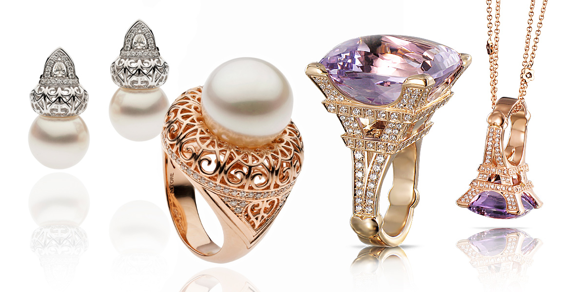 From left to right: ring and earrings by Autore from the Metropolitan collection, Madame Eiffel ring by Pasquale Bruni