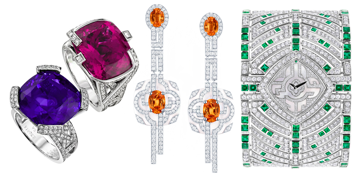 From left to right: Piaget rings from Limelight Paris-New York collection; earrings and a watch from L'Âme du Voyage – Escale à Paris collection by Louis Vuitton