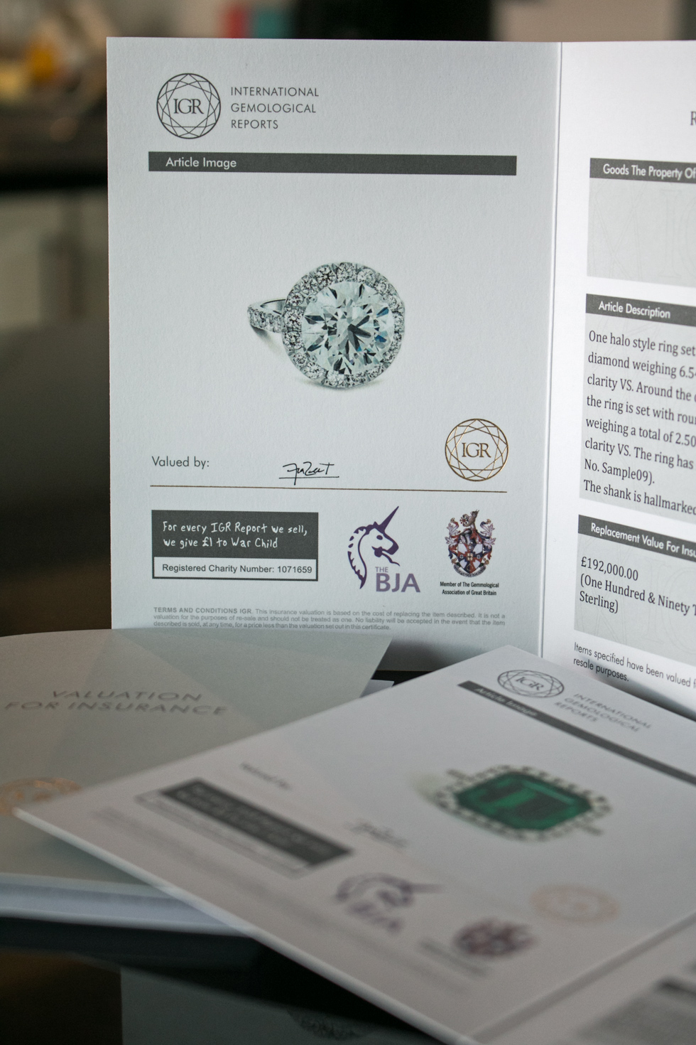 IGR Global jewellery valuation certificate
