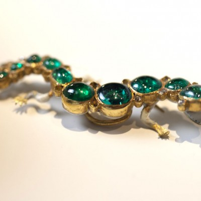 A Colombian emerald, diamond and enamel Salamander brooch