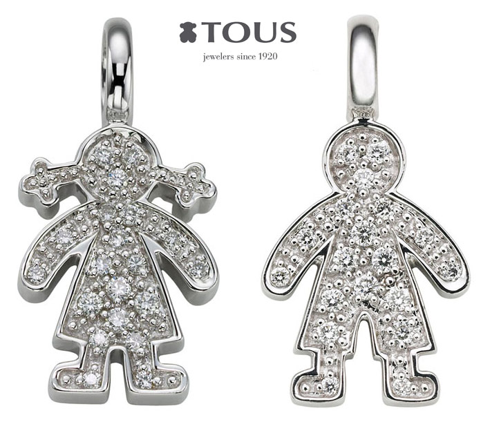 Girl (£589) and Boy (£565) pendants in 18K White gold with 0.11cts diamonds