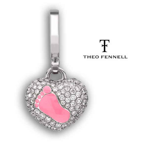 18ct White Gold with 0.55ct pavé Diamonds and a Pink Enamel footprint charm from the Art collection - £2,650