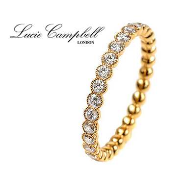 Lucie Campbell 18K yellow gold eternity band with a full circle of diamonds - £2,250