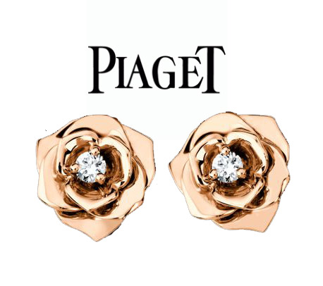 Piaget Rose earrings in 18K rose gold set with 2 brilliant-cut diamonds (approx. 0.12 ct). Diameter is about 10mm