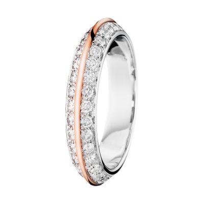 Boucheron Eternelle Grace Band with pave diamonds, white and rose gold