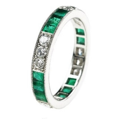 Lucie Campbell milgrain band with diamonds and emeralds