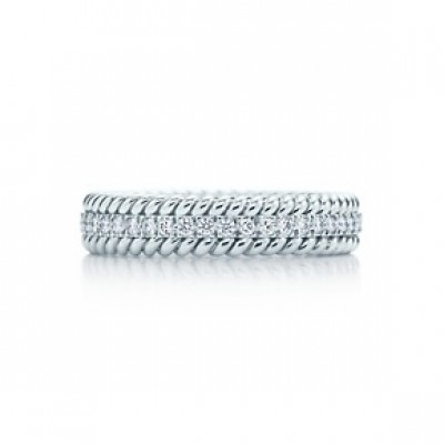 Tiffany&Co Shlumberger Rope band in White Gold and Diamonds
