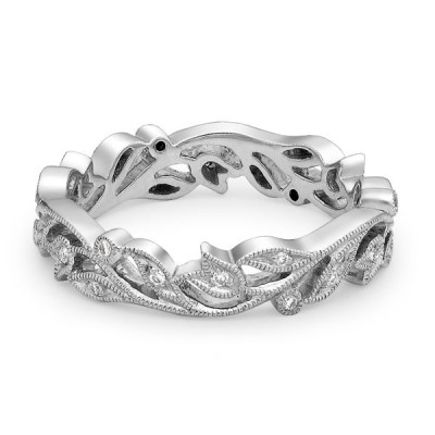 Joule white gold band with diamonds