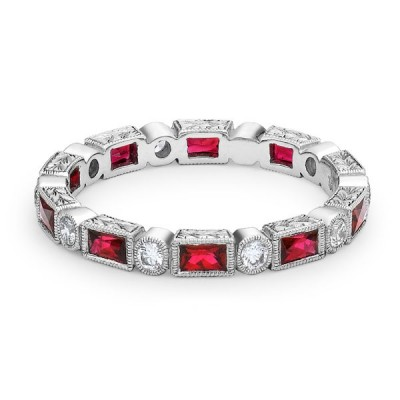 Joule white gold band with ruby and diamonds