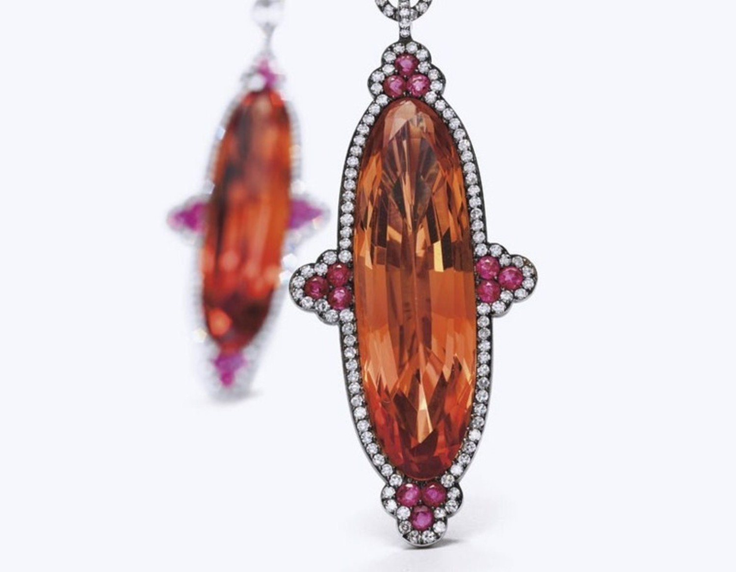 JAR earrings with imperial topaz, sapphires and diamonds sold at Christie