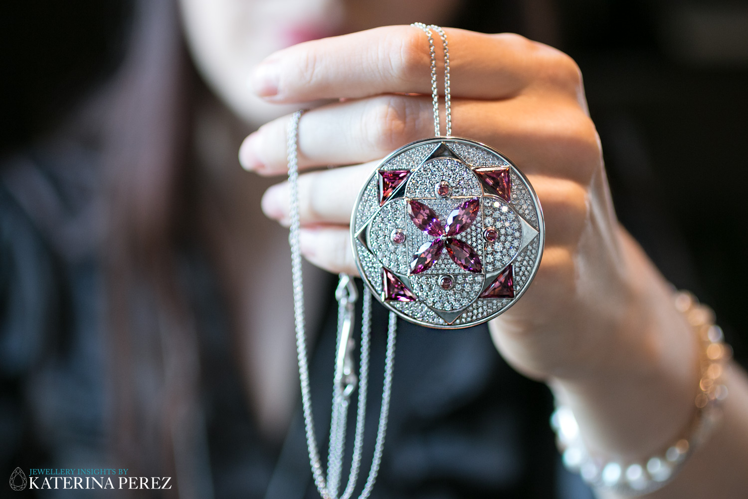 Lily Gabriella pendant from Damali collection with diamonds and pink tourmalines