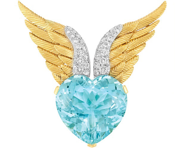 Verdura Wings brooch crafted in gold and platinum with aquamarine and diamonds