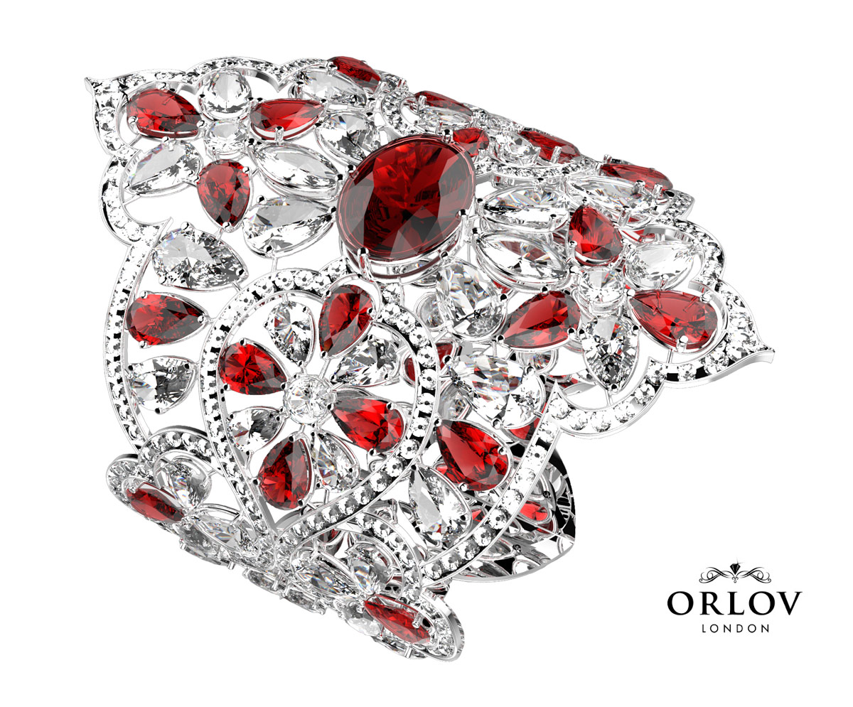 ORLOV Burmese ruby bracelet with a 12ct oval ruby in the centre