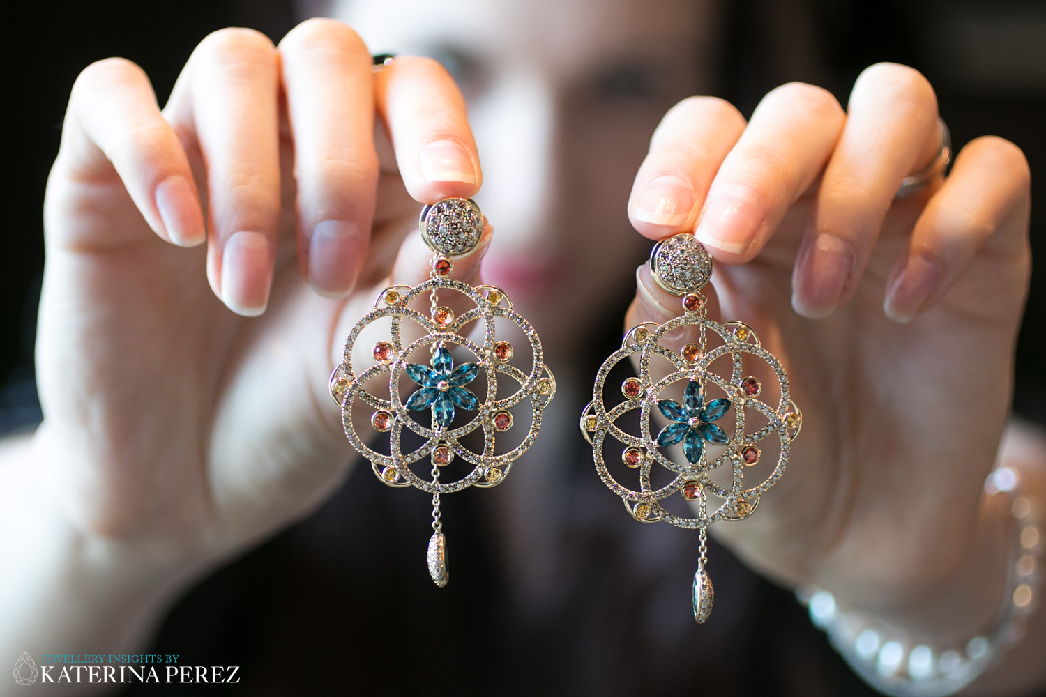 Lily Gabriella earrings from Damali collection with diamonds, sapphires and topaz
