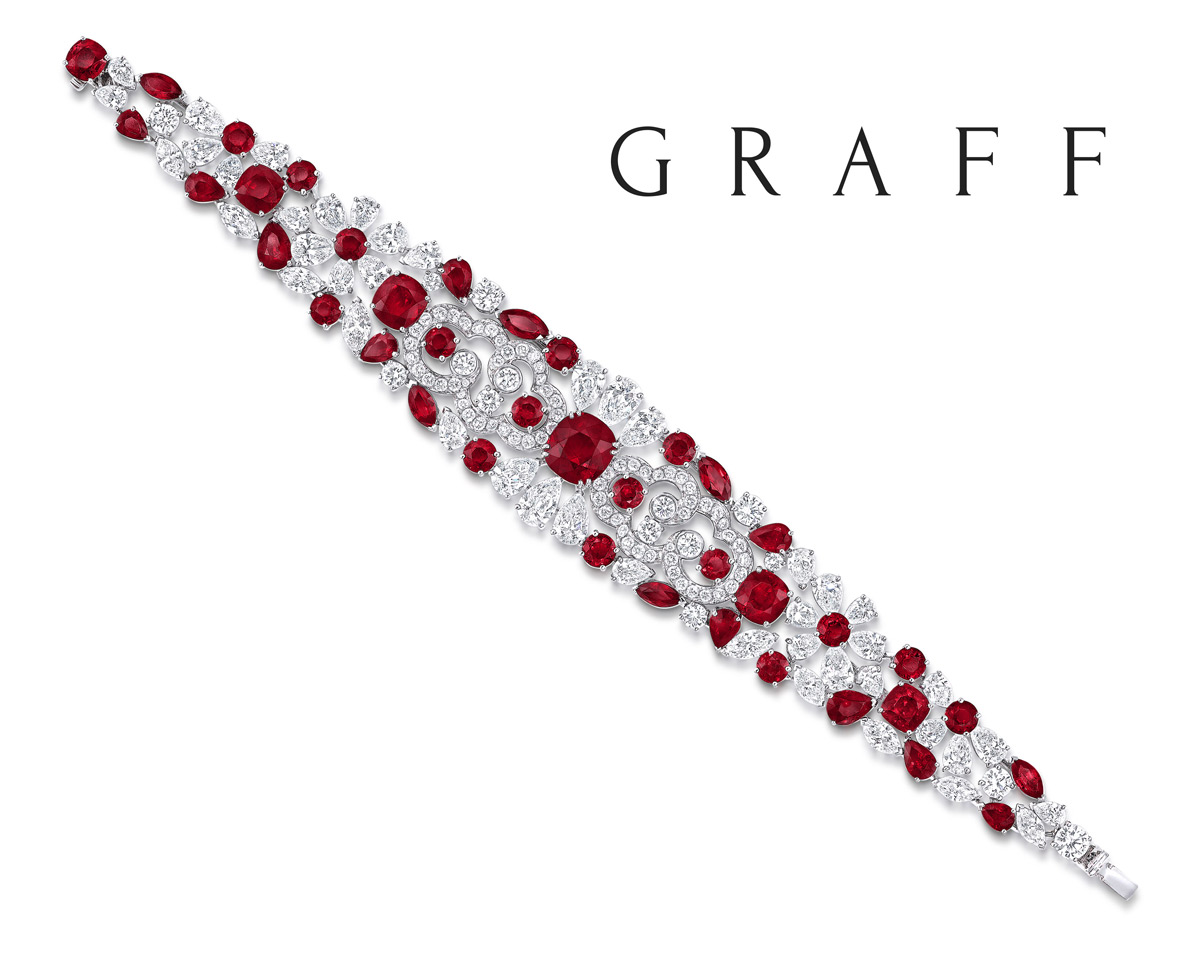 Graff Daimonds bracelet from the Biennale 2014 collection. Centre ruby of 5.04 carat cushion cut Pigeon blood Burmese ruby is surrounded by 20.78cts of diamonds and 31.19cts of rubies.