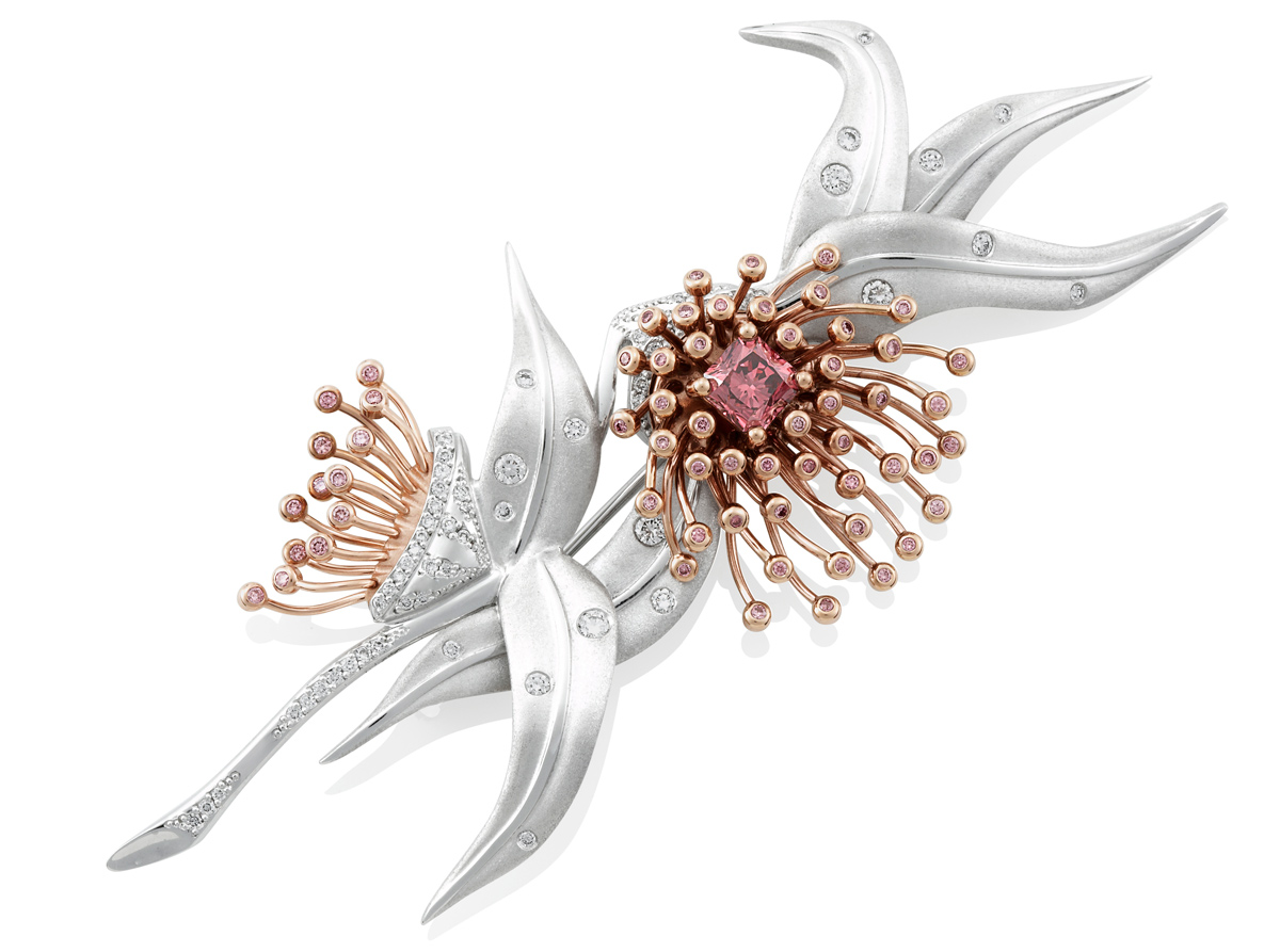 The Diamond Jubilee Blossom Brooch by Mondial Pink Diamond Atelier