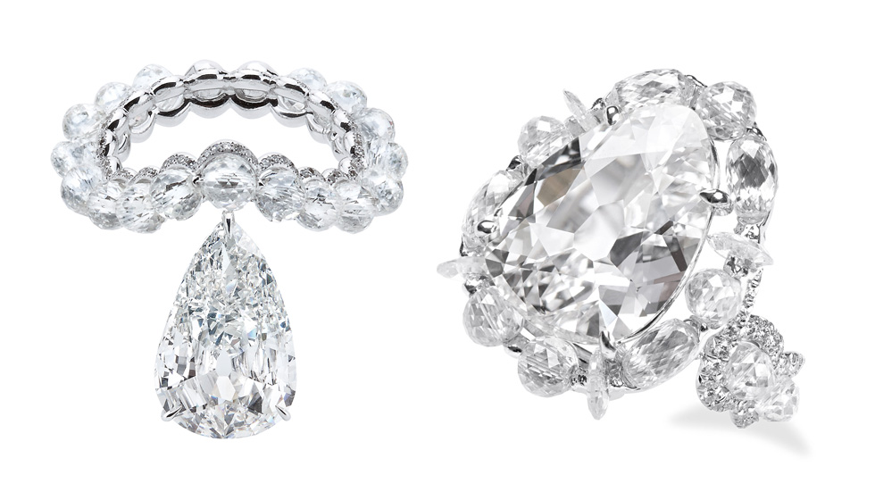 Left: Theodoros ring with a 7.05 cts old-mine diamond; Right: Suzanne Syz ring with a 5.69 cts diamond