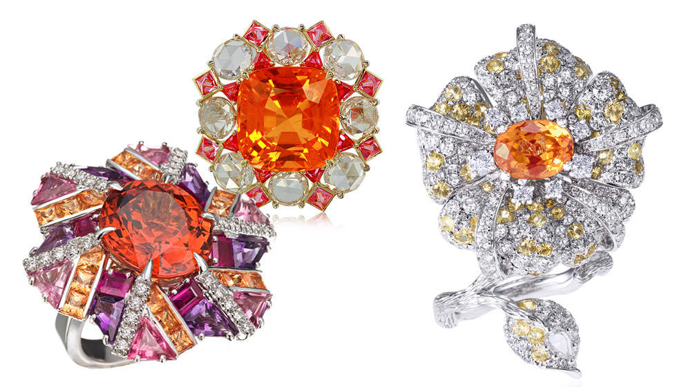 From left to right: Carlo Barberis one of a kind mandarin garnet cocktail ring with sapphires and diamonds; IVY New York spessartite garnet, spinel and diamond ring; 8. Anna Hu Duchess Hibiscus ring with mandarin garnet