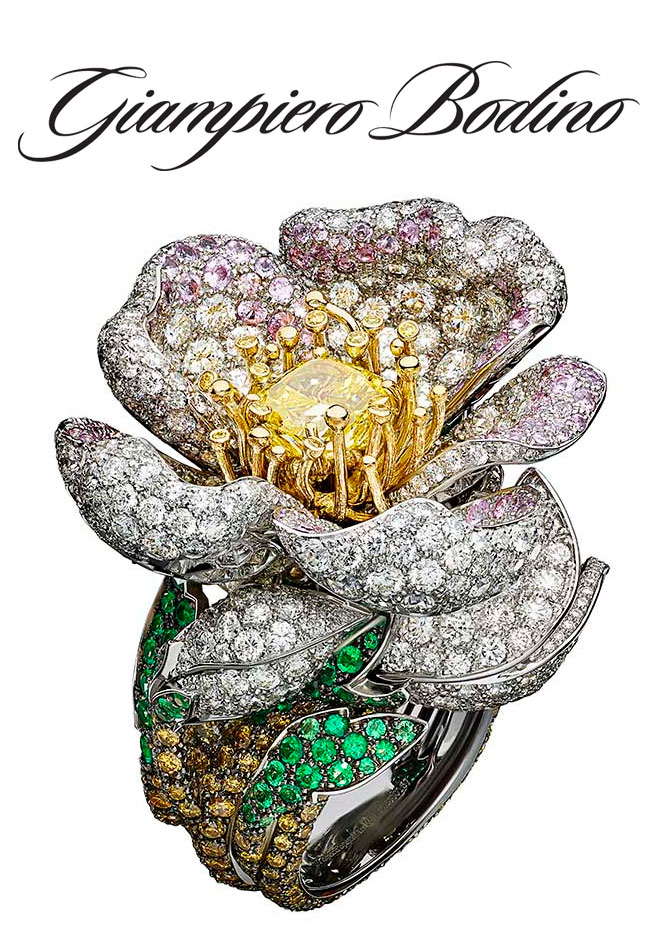 Giampiero Bodino Primavera ring with white, grey, yellow and cognac diamonds, pink sapphires and emeralds set in white and yellow gold