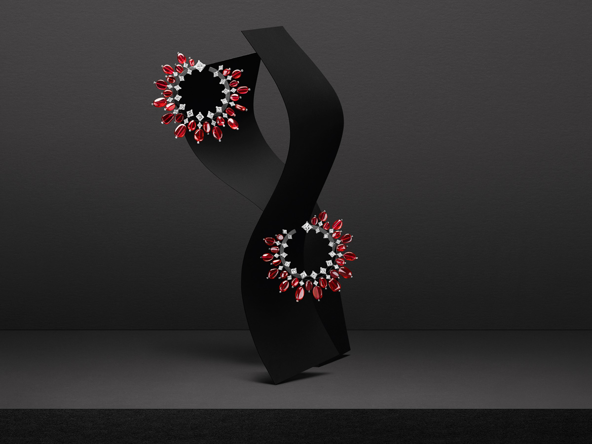Tiares hoop earrings which feature 50 natural rubies – weighing a total of 43.31 – and diamonds in black gold