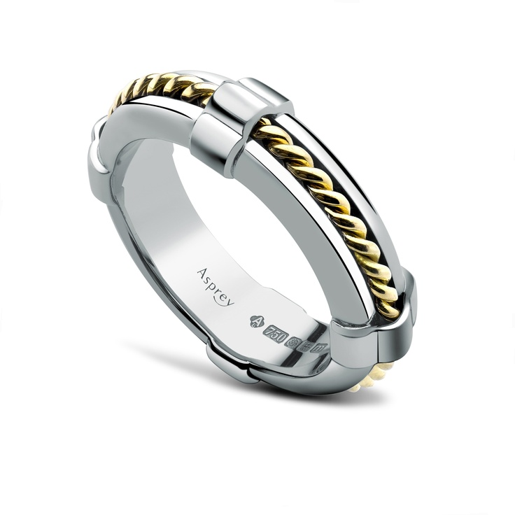 Asprey Life Ring in white gold with yellow gold rope