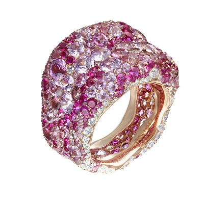 Émotion Ring featuring Pink & White Diamond, Sapphire, Tourmaline and Spinel