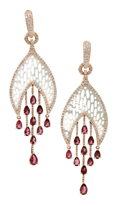Inbar Jewellery tourmaline and moother of pearls rarrings
