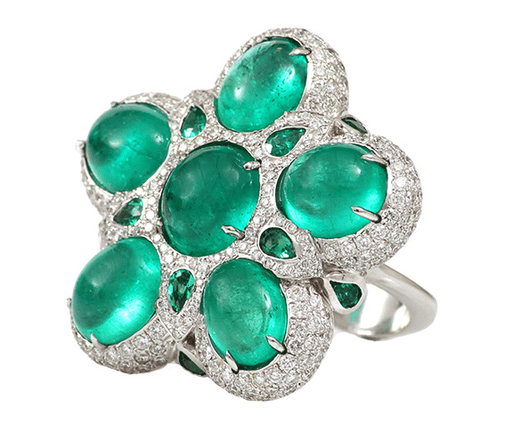 Inbar Emerald Flower ring