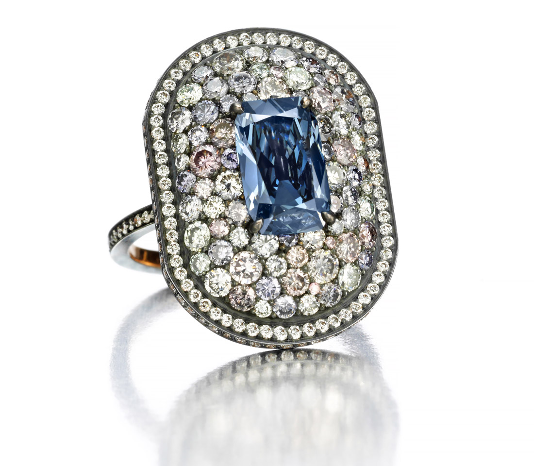 Lauren Adriana ring for Siegelson with a 1.51 cts blue diamond